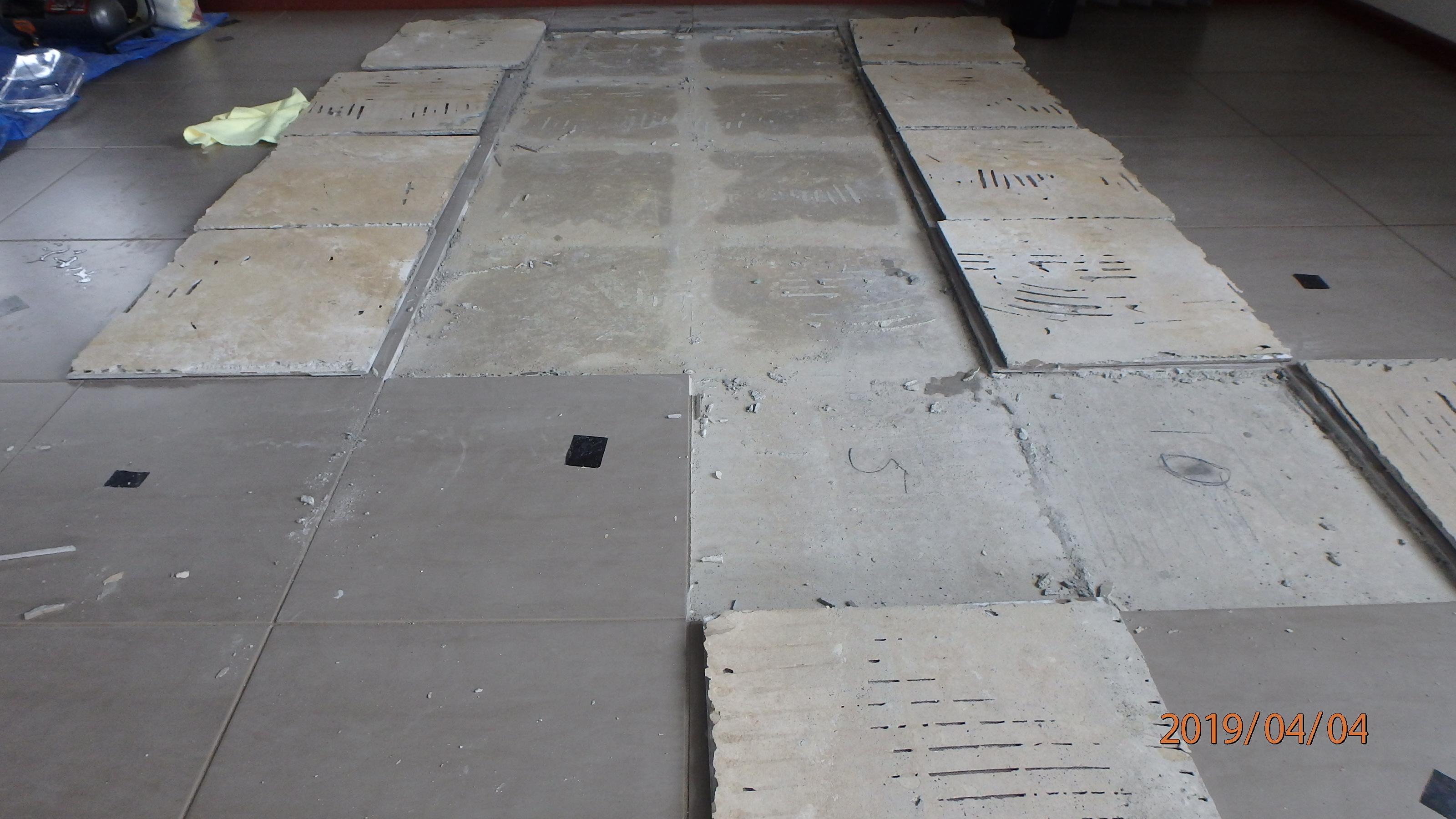 underneath tiles