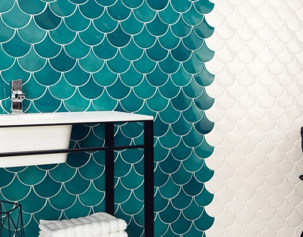 blue fanshaped tiles on the wall