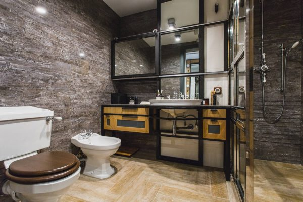 industrial style bathroom with rustic theme
