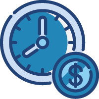 blue clock and dollar coin